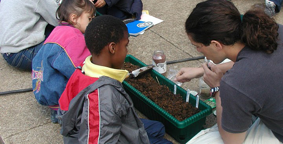 Children learning about gardening